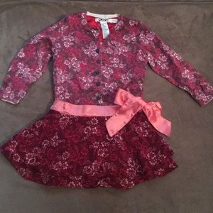 Baby Girls DKNY cardigan with matching skirt